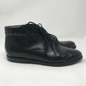 Vintage Ankle Boots 90s 6 Black Leather Woven Fall